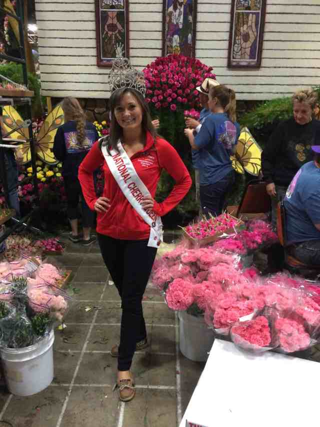National Cherry Queen stopped by the float.